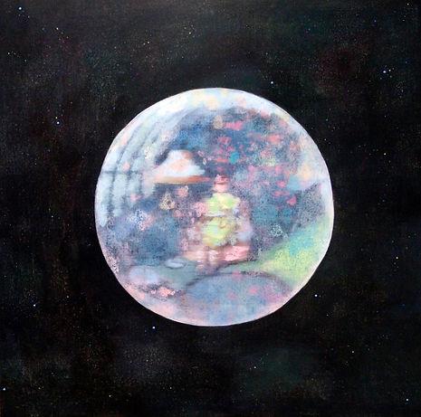 Moon or 문, 60.6x60.6cm, acrylic on canva