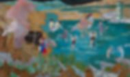 이진희_4월 15일_97.0 x 162.2 cm_캔버스 천 위에 연필,유채_2018