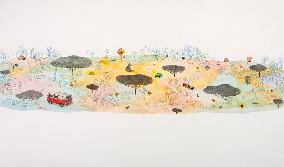In the bus, 97.0x162.2cm, mixed media on