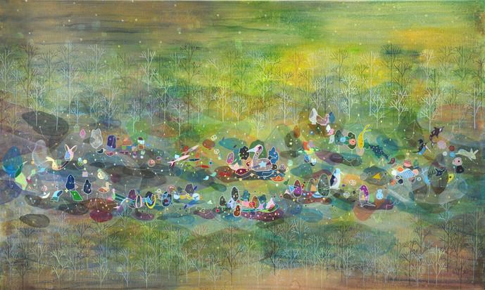 회전목마, 97x162.2cm, acrylic on canvas, 201