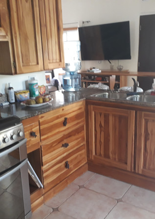 Large stove, double sink, lots of storage