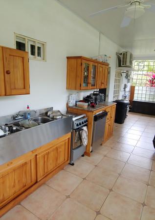 Fridge, triple sink, propane stove and oven, dishwasher, large BBQ