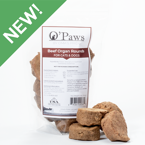 O'Paws Freeze Dried Beef Organ Rounds