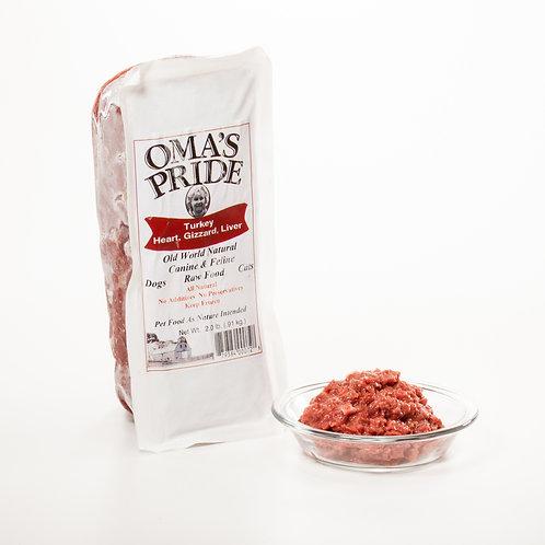 Oma's Pride Ground Turkey Organ Meat 2 lb