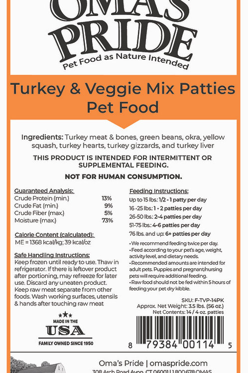 Oma's Pride Turkey & Veggie Mix Patties 14-Pack