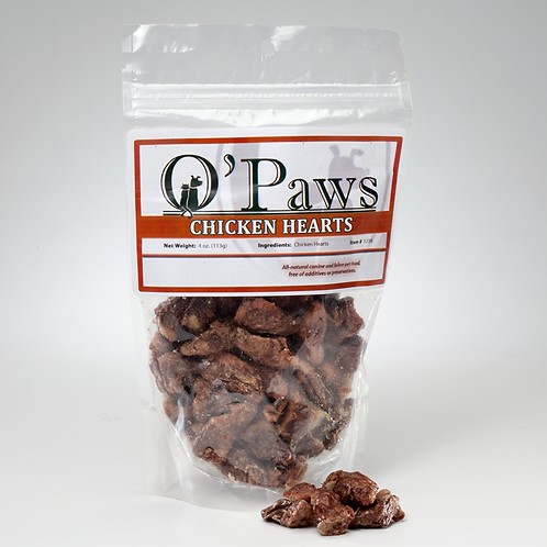 O'Paws Freeze Dried Chicken Hearts 4oz.