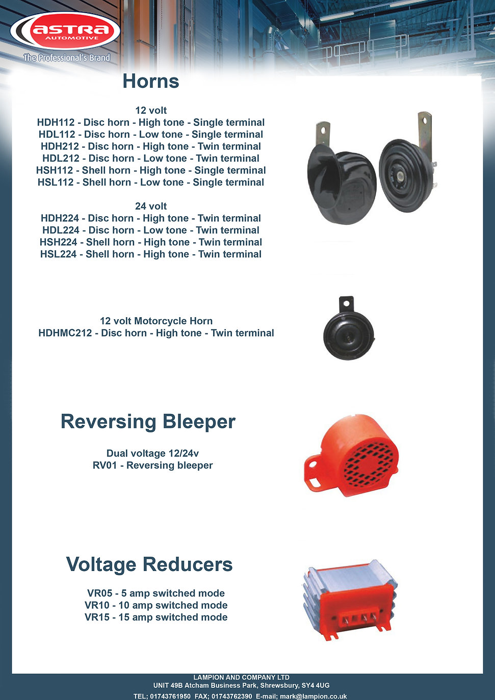 Horns voltage reducers and bleepers copy
