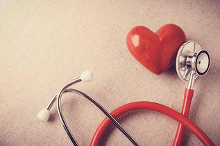 red heart with stethoscope, heart health