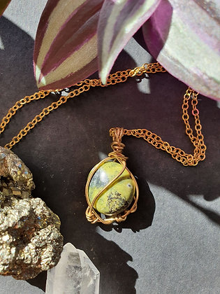 Wire Wrapped Atlantisite Gold Necklace