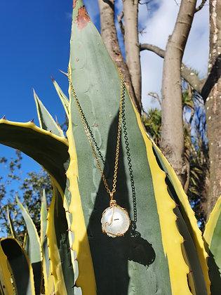 White Solar Quartz Necklace