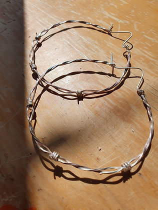 Sterling Silver Barb Wire Hoops