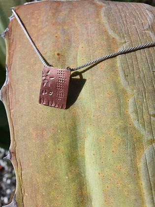 Sample Stamped Copper Pendant with Sterling Silver Chain