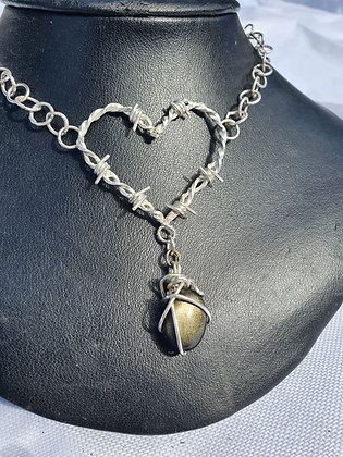 Handmade Sterling Silver Barb Wire Heart Chocker W Gem