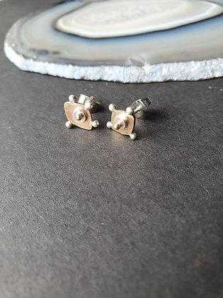 """""""Woke"""" Eye Brass & Sterling Silver Stud Earrings"""