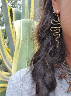 Brass Serpent Earrings #2