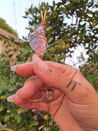 Crystal Smoke Wand ~ Angel Aura Quartz &Rhodochrosite