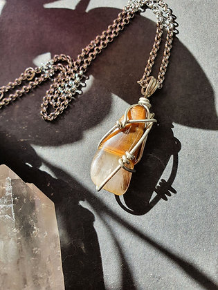 Wire Wrapped Tigers Eye Silver Necklace