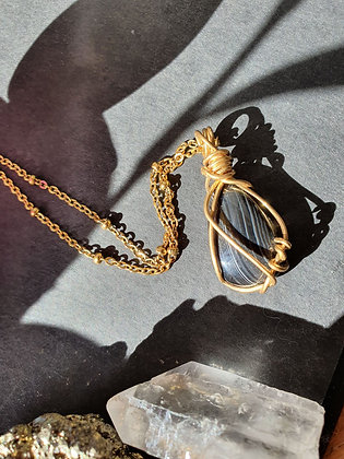 Wire Wrapped Black Onyx Gold Necklace