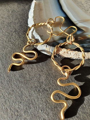 Brass Serpent Earrings #3