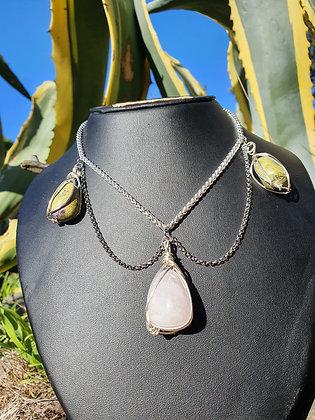Rose Quartz & Atlantisite Silver Necklace
