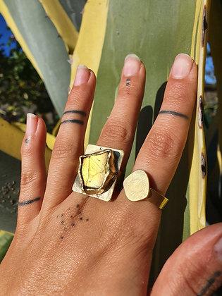 Brass Labradorite Ring