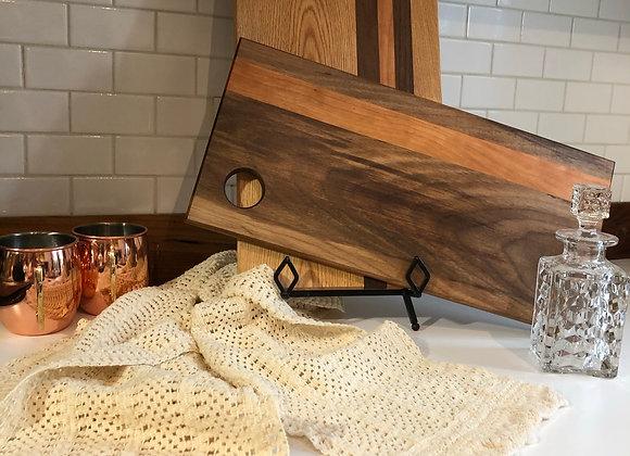 Black Walnut Cutting Board with Cherry Inlay - C5