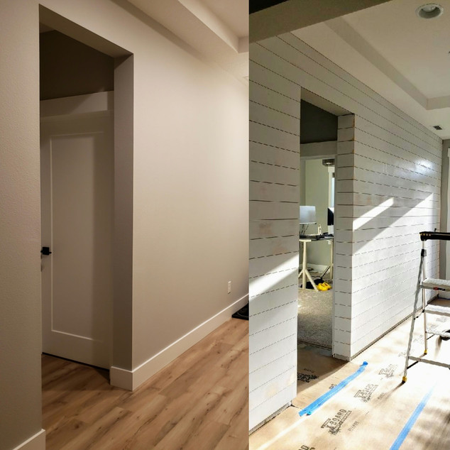 Before & After Shiplap Wall Install