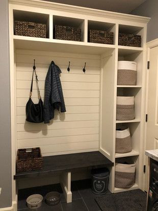 Custom Mud Room with Shiplap Wall