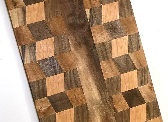Walnut & White Oak Checkered Cutting Board- 17 Inches