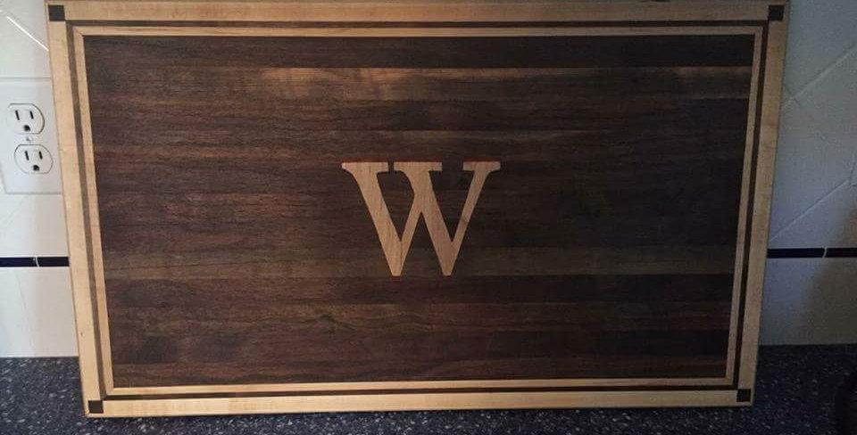 Cutting Board - Walnut with Maple Border & W Accent