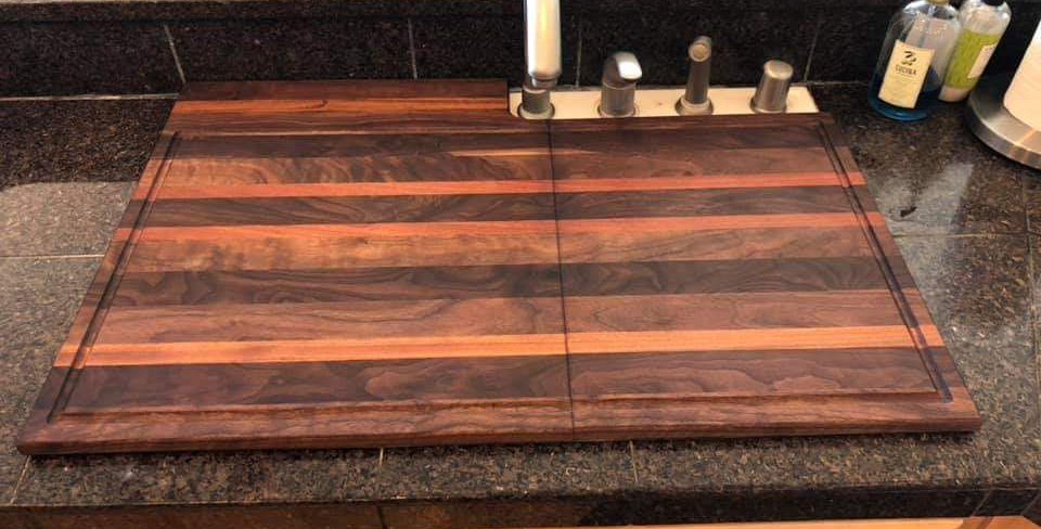 Walnut & Mahogany Sink Topper
