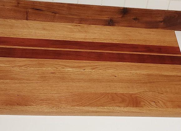 White Oak with 5 Babinga Stripes - 26 Inches