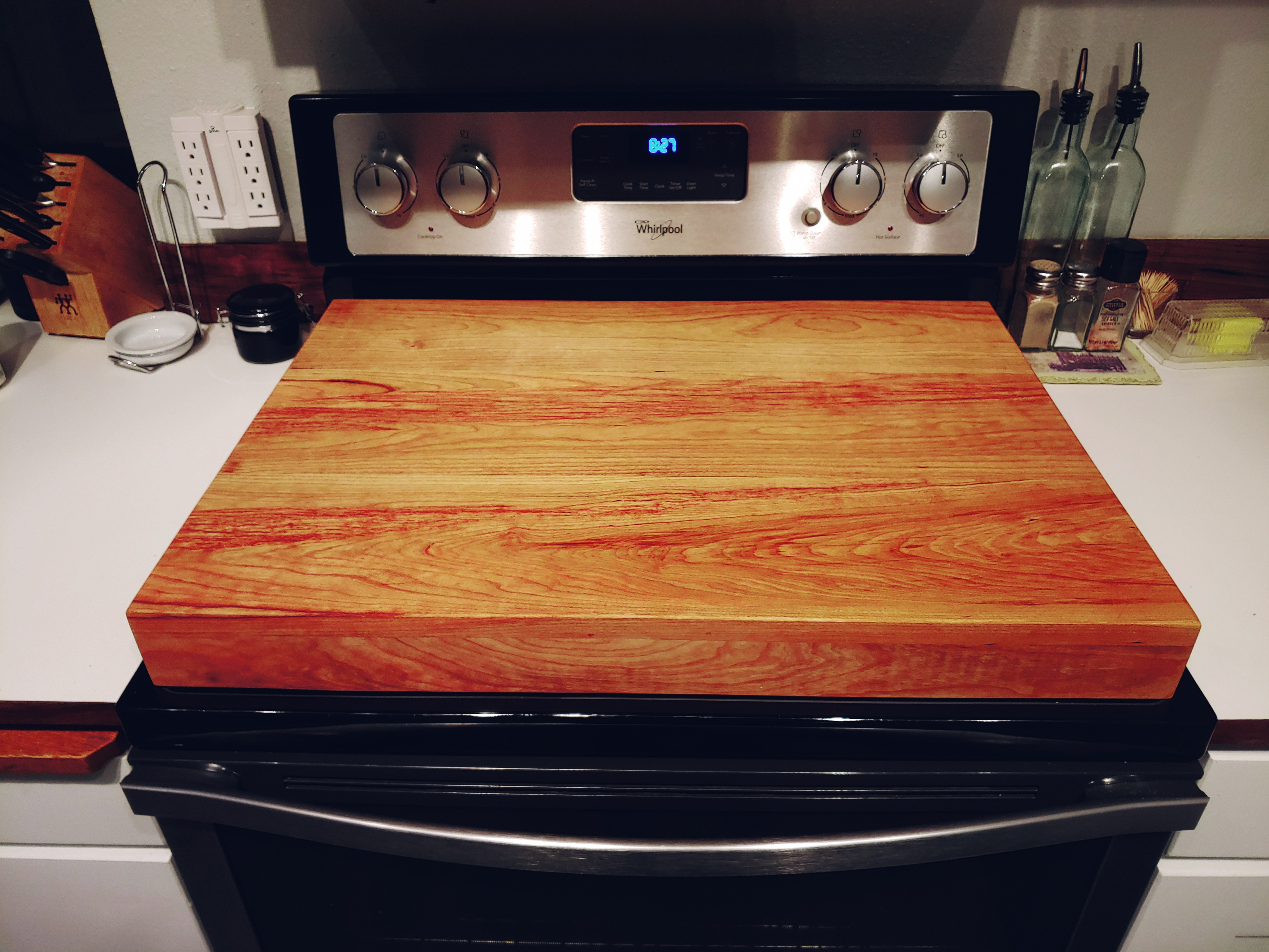 Cherry Stained Gas Stove Topper