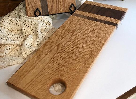 White Oak Cutting Board with Walnut Perpendicular Stripes