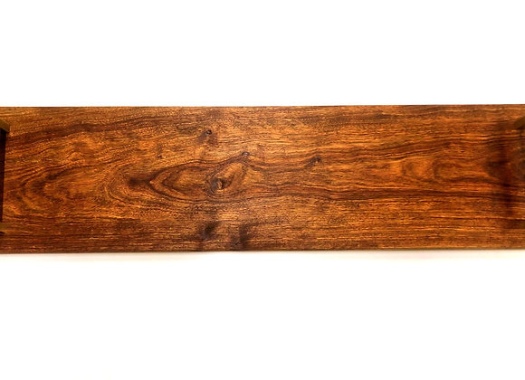 Tiger Wood Serving Board with Gold Handles - 28 Inches