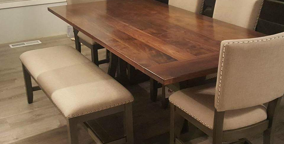Walnut Table with Breadboard Ends and Paintable Base