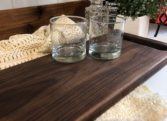 Serving Board - Black Walnut with Curved Edges