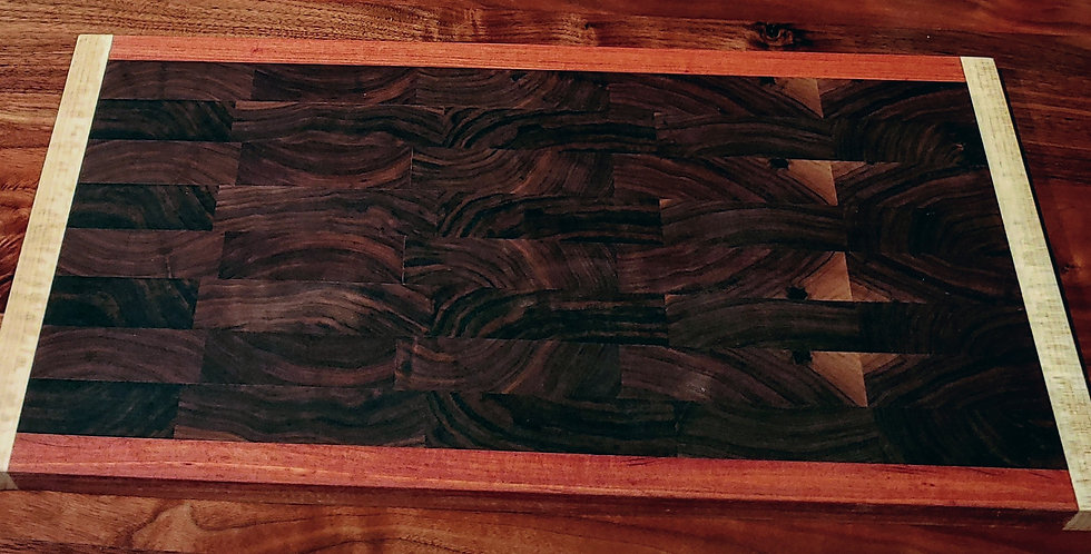 Walnut Endgrain Cutting Board with Maple Mohagany Accents