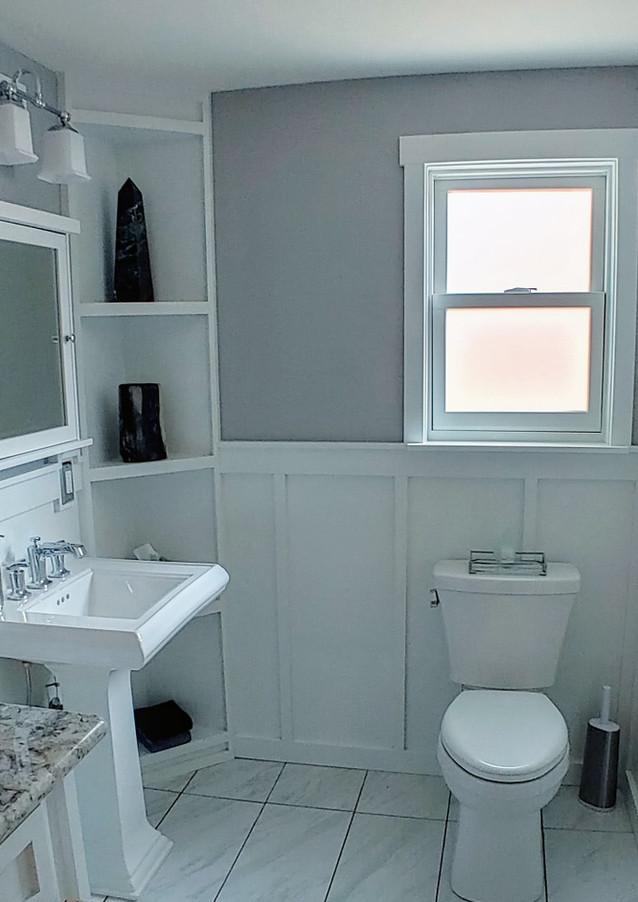 Bathroom Corner Shelf & Wall Feature