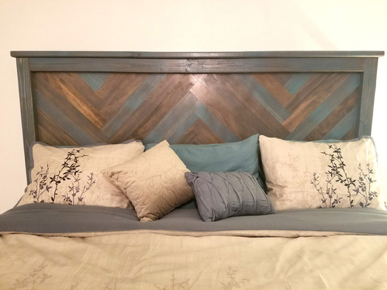 Custom Headboard Herringbone