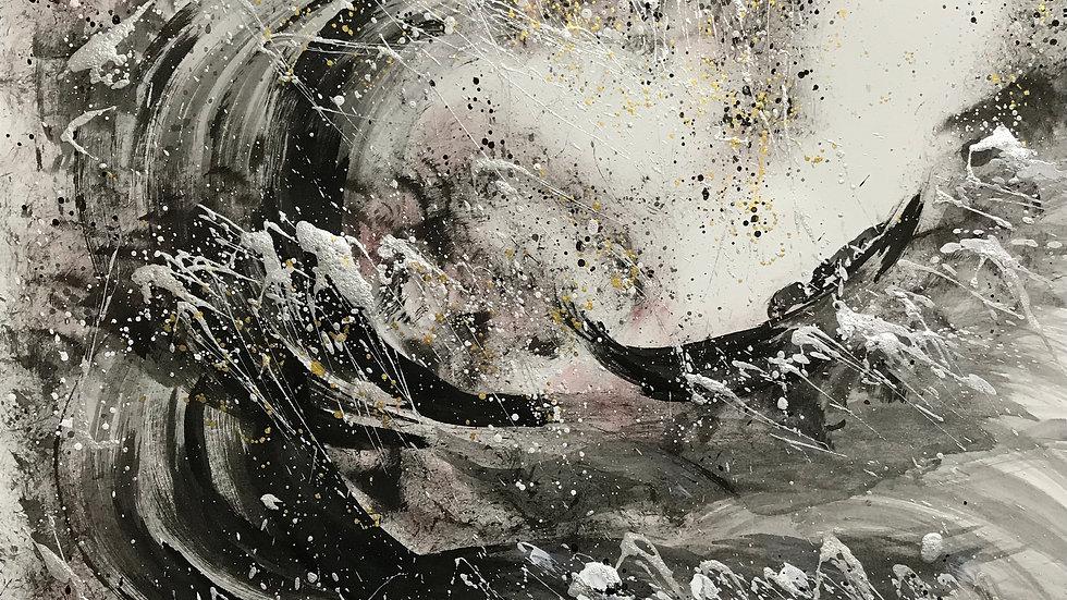 富嶽三十六景『神奈川県沖波裏』現代墨絵アート