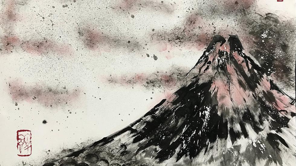 富嶽三十六景『赤富士』現代墨絵-ト