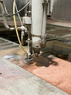 Waterjet cutting in action