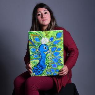 "Pintura ""Pavo real"": Gloria Mella"