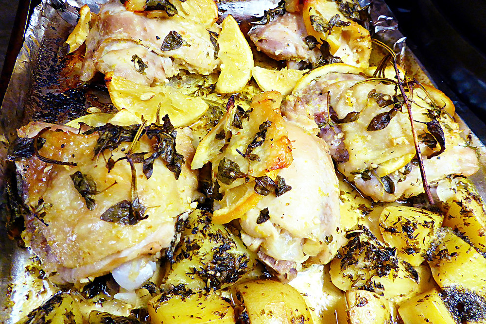 Baked Lemon-Herb Chicken Thighs with Potatoes