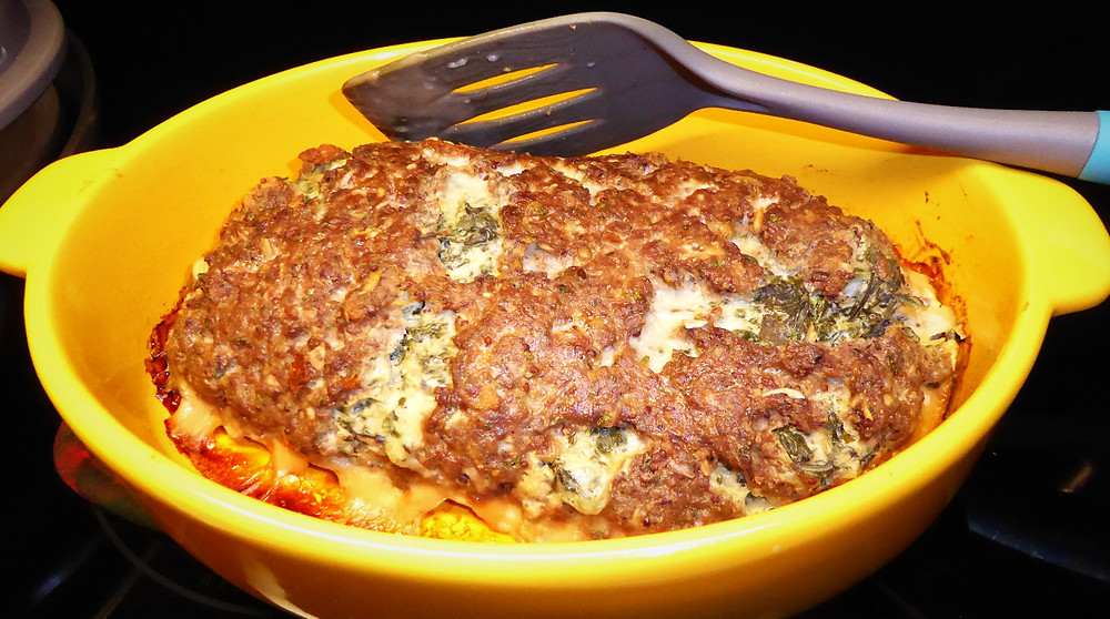 Spinach Stuffed Meatloaf with Mushroom Sauce