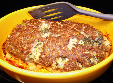 Cheap and Good:  Spinach-Stuffed Meatloaf with Mushroom Sauce