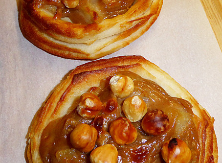 Creamy Ginger-Pear Tarts with Hazelnuts