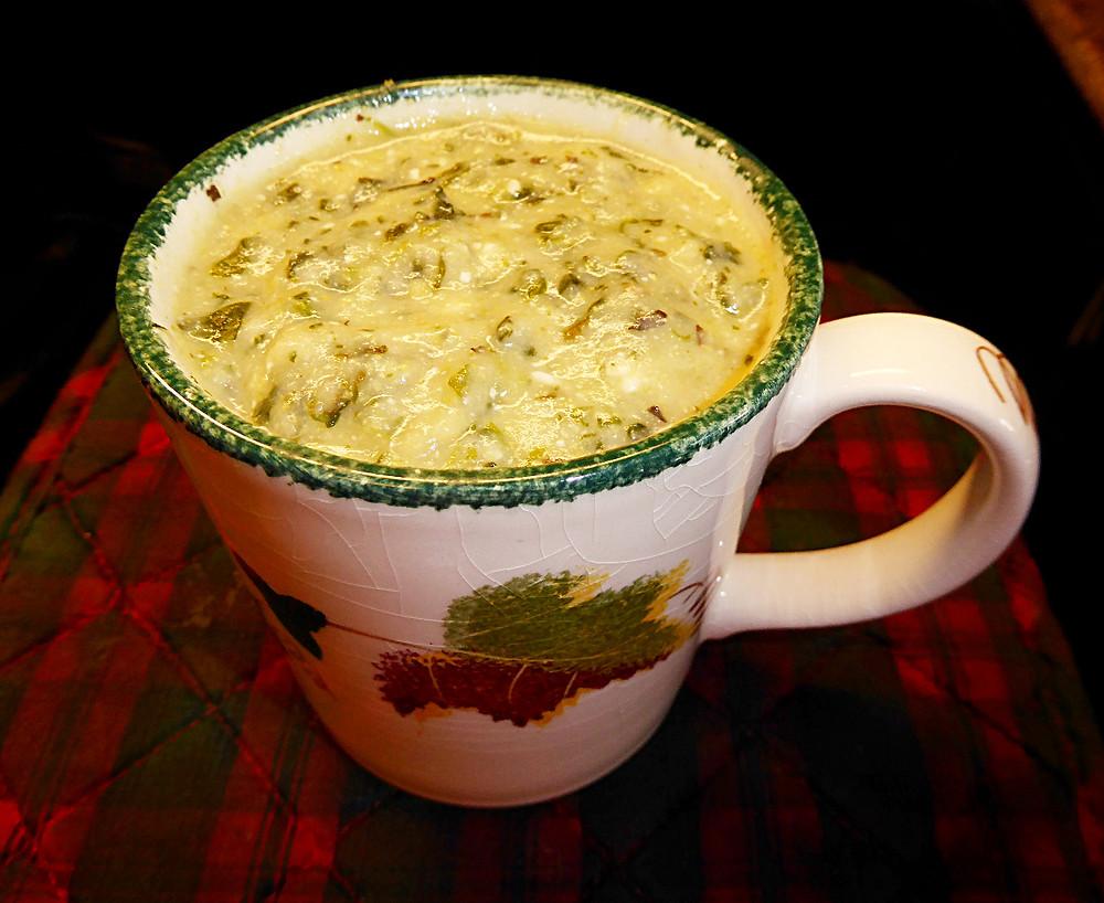 spinach polenta soup