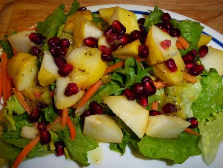 End the Boredom:  Pear and Pomegranate Salad